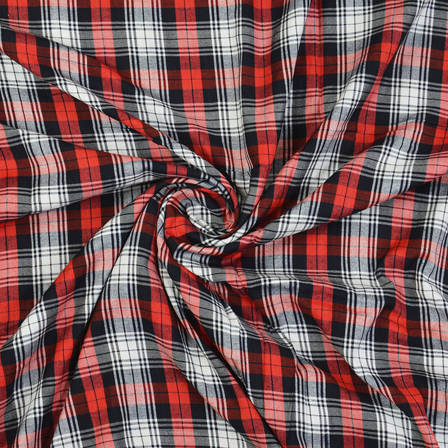 White-Black and Red Checks Cotton Handloom Khadi Fabric-40278