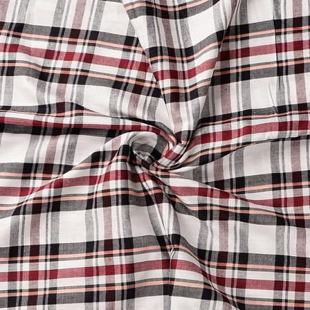 White-Black and Red Checks Design Cotton Handloom Khadi Fabric-40183