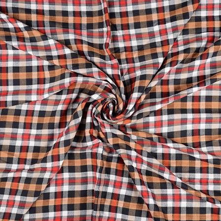 White-Black and Red Checks Rayon Shirt Fabric-40234