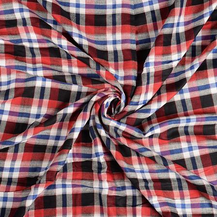 White-Black and Red Checks Rayon Shirt Fabric-40237