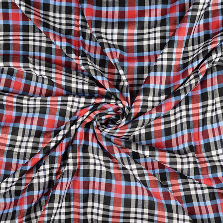 White-Black and Red Checks Rayon Shirt Fabric-40251