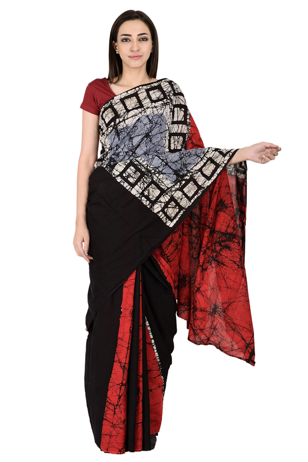 White-Black and Red Cotton Shibori Print Saree-20136