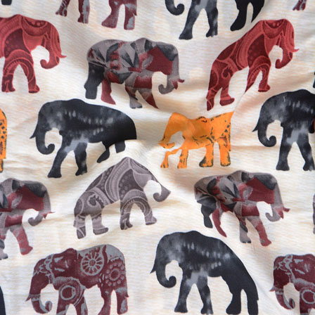 White Black and Red Elephant Crepe Silk Fabric-18209
