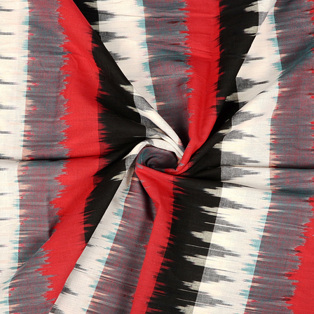 White-Black and Red Zig Zag design 3D Cotton Ikat Fabric-12081