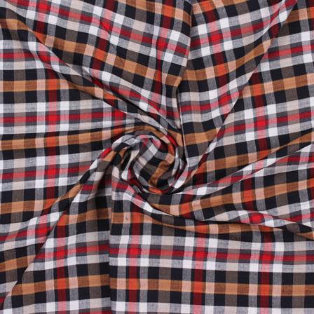 White Black and Yellow Check Handloom Khadi Cotton Fabric-40439