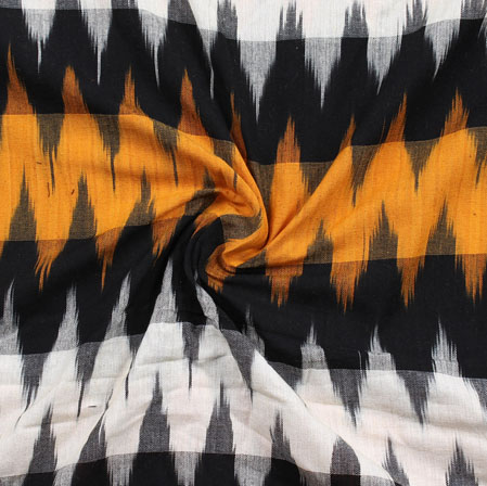 White Black and Yellow 3D Ikat Cotton Fabric-11065