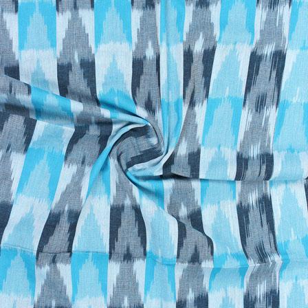 White Blue 3D Ikat Cotton Fabric-12327