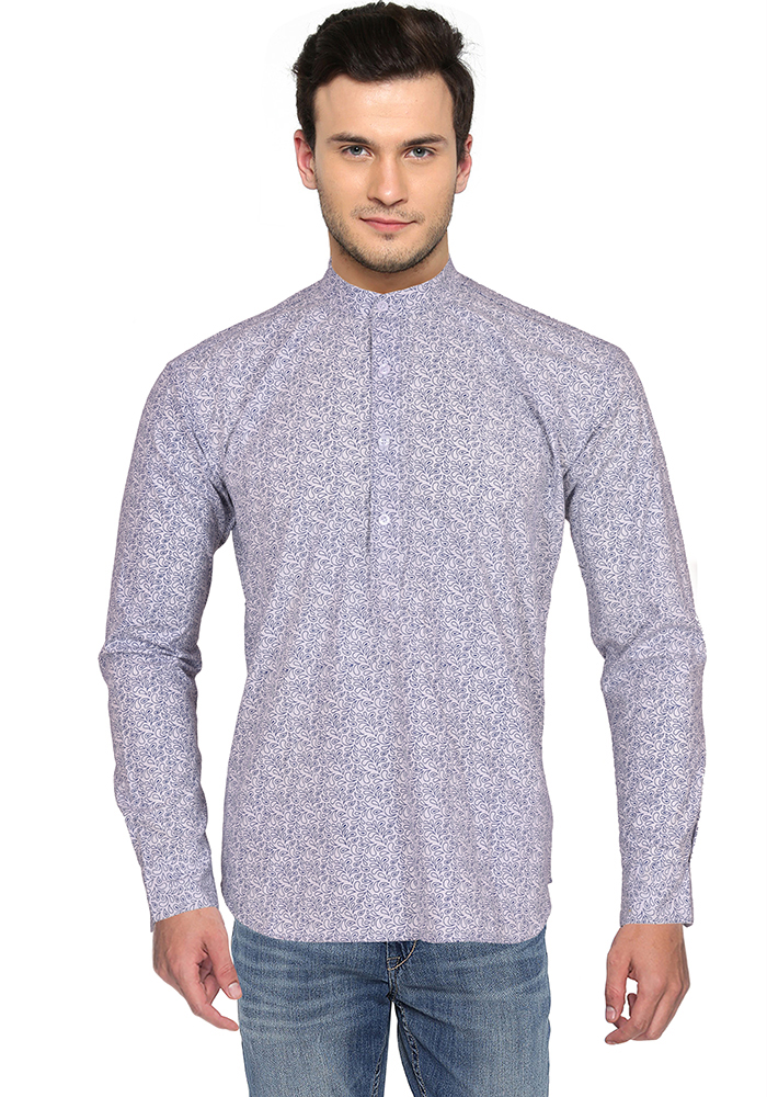 White Blue Block Cotton Short Kurta-33173