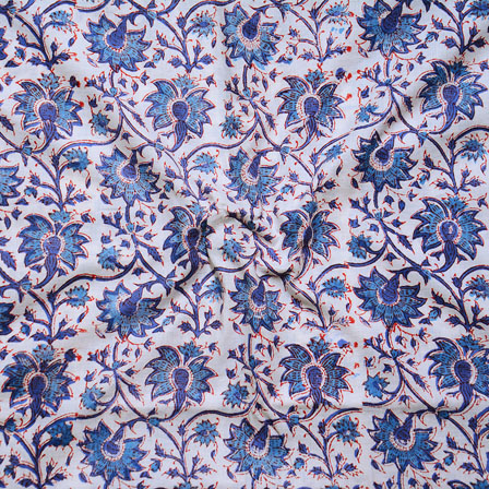 White Blue Block Print Cotton Fabric-14642