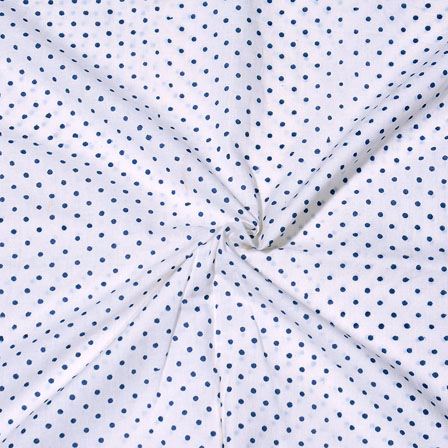 White Blue Block Print Cotton Fabric-14722