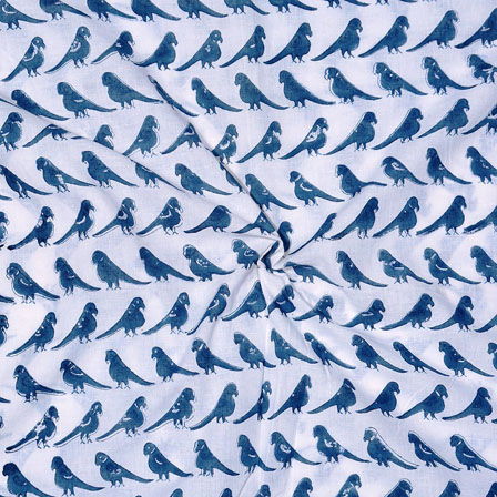 White Blue Block Print Cotton Fabric-14741