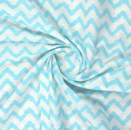 White Blue Block Print Cotton Fabric-16056