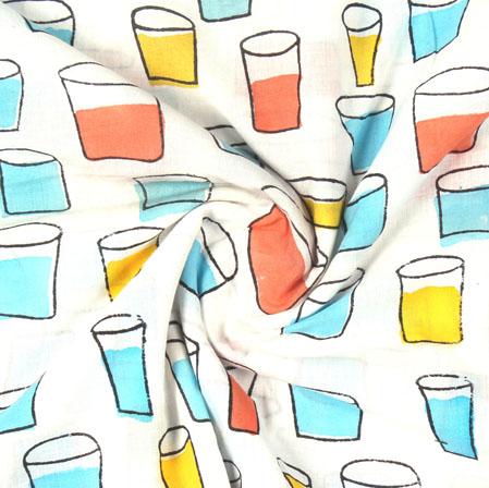 White Blue Block Print Cotton Fabric-16096