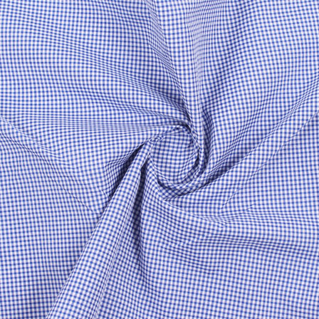 White Blue Check Handloom Khadi Cotton Fabric-40459