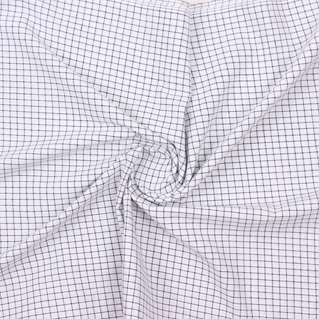 White Blue Check Handloom Cotton Fabric-40758