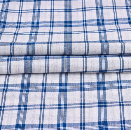 White Blue Checks Cotton Handloom Fabric-42229