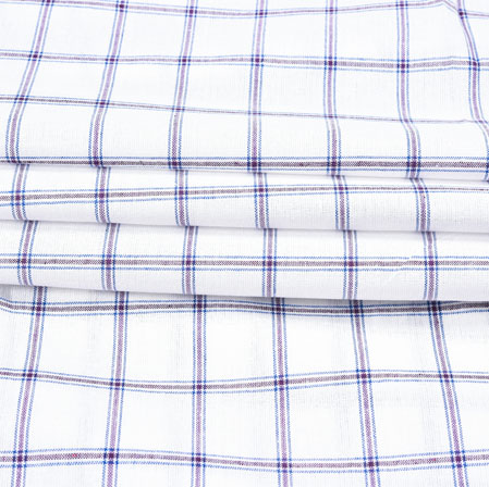 White Blue Checks Cotton Fabric-42385
