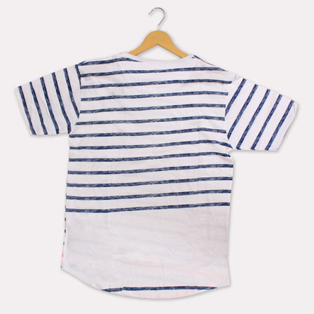 White Blue Cotton Blue Stripes T-shirt-33364