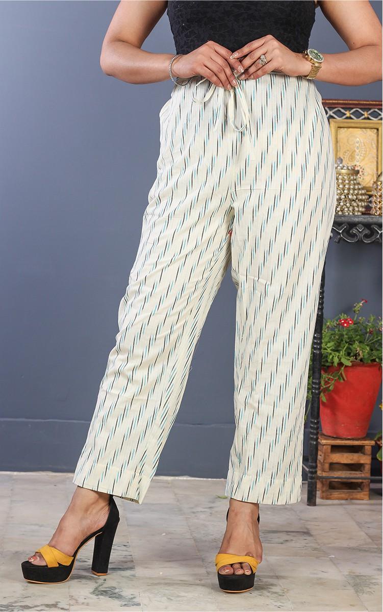 White Blue Cotton Ikat Ankle Women Pant-34700