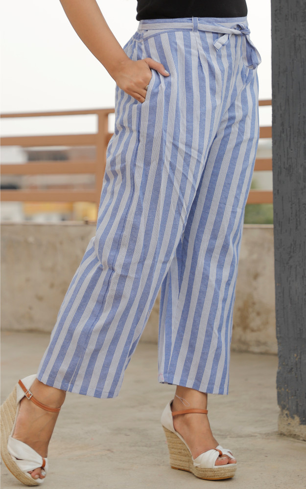 White Blue Cotton Stripe Pant with Belt-33633