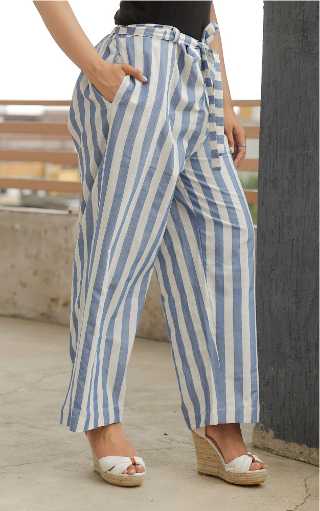 White Blue Cotton Khadi Stripe Pant with Belt-33635