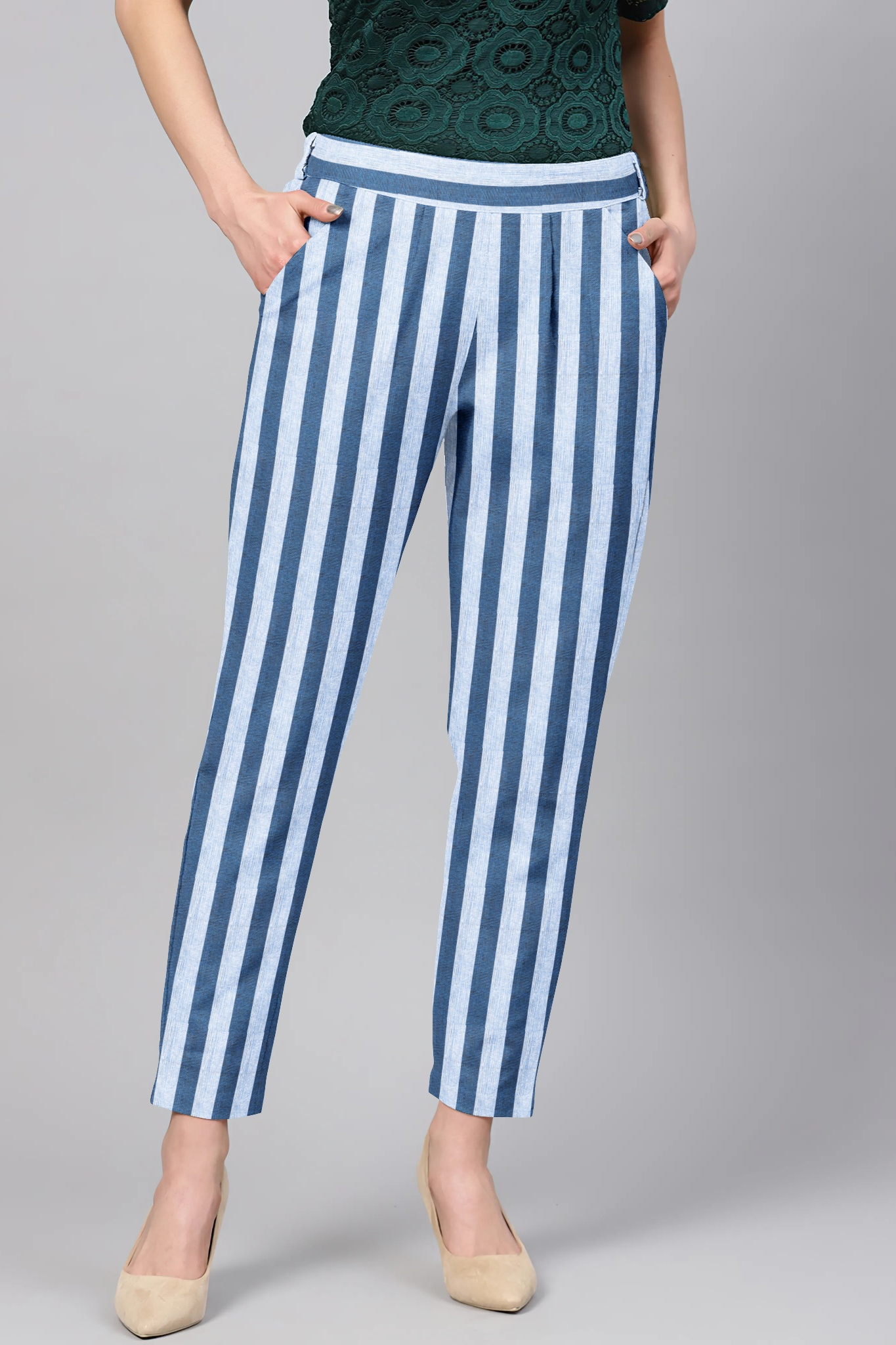 White Blue Cotton Stripe Regular Fit Solid Trouser-36090