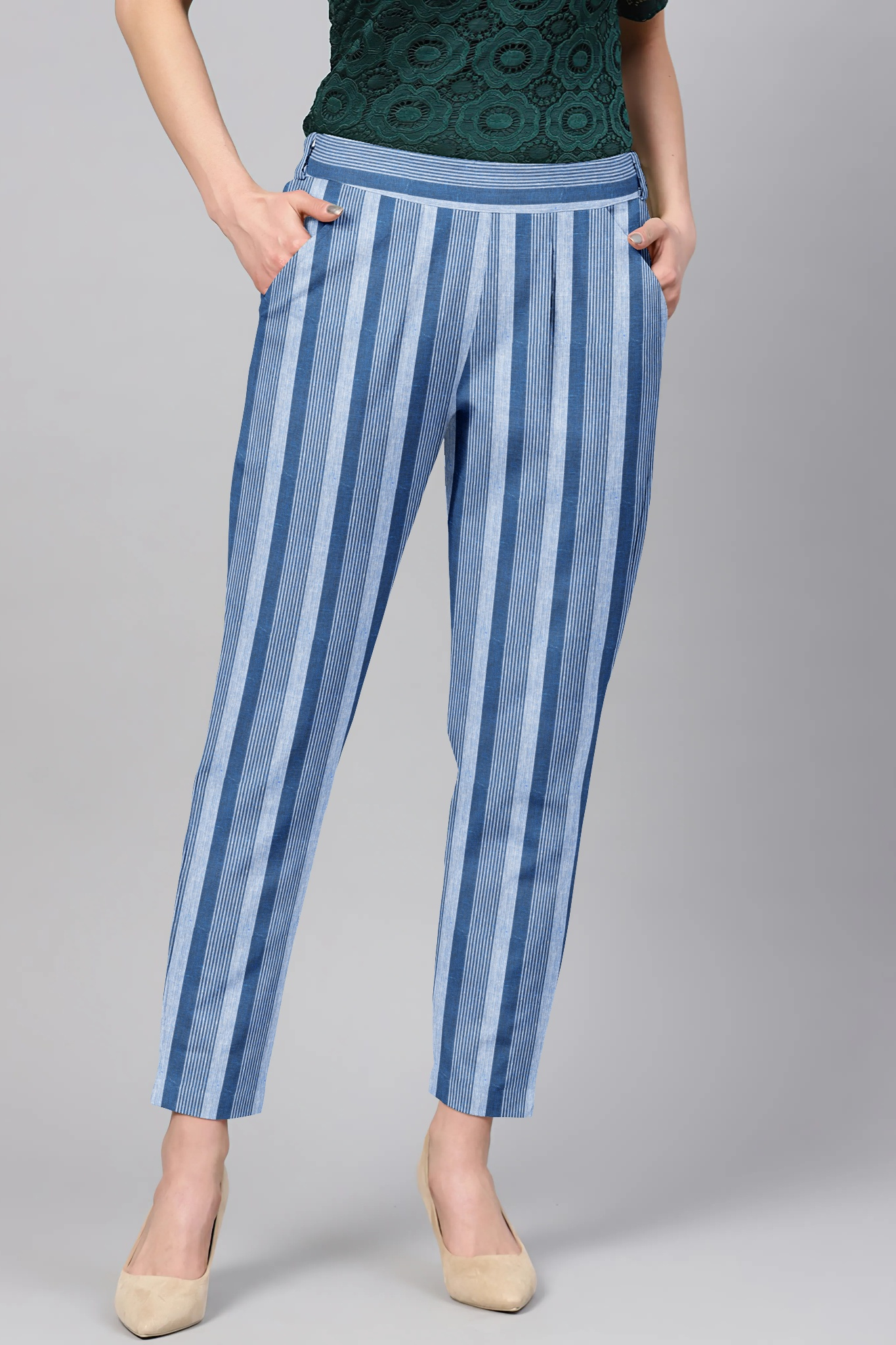 White Blue Cotton Stripe Regular Fit Solid Trouser-36091