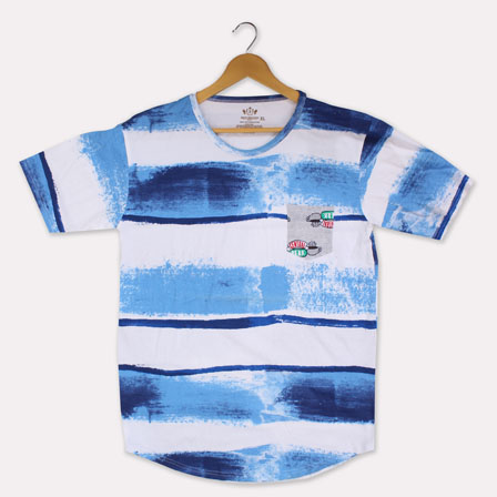 White Blue Cotton Tie Dye T-shirt-33381