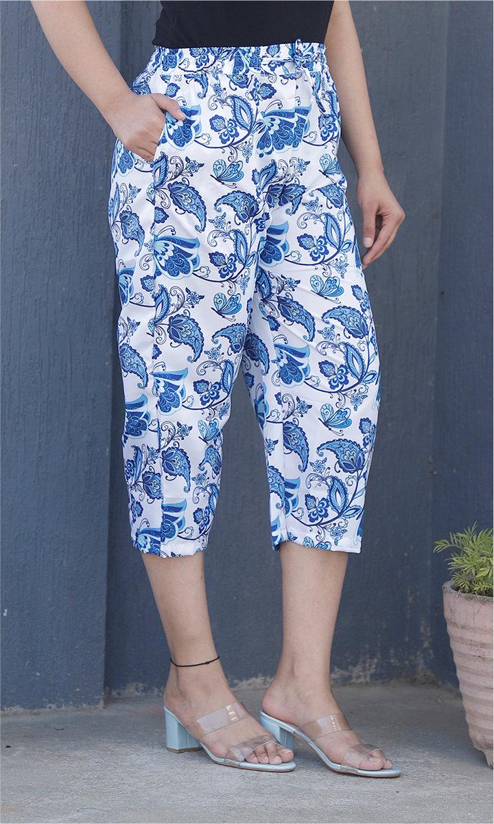 White Blue Crepe Silk Women culottes-34441