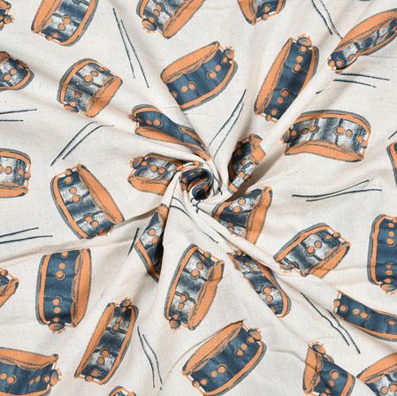 White Blue Drum Cotton Flex Fabric-28217