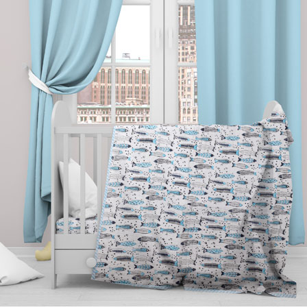 White Blue Fish Cotton Block Print Baby Quilt-33133