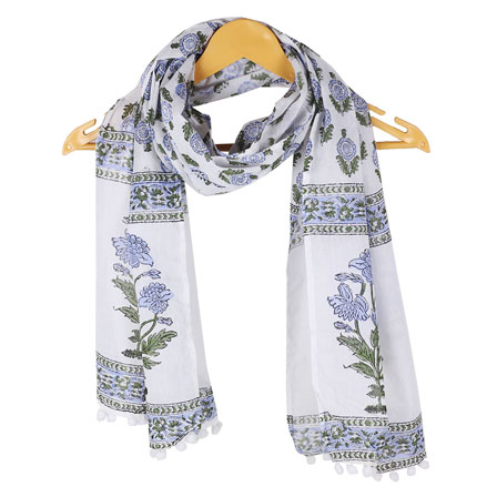 White Blue Floral Cotton Block Print Dupatta With Pom Pom-33123