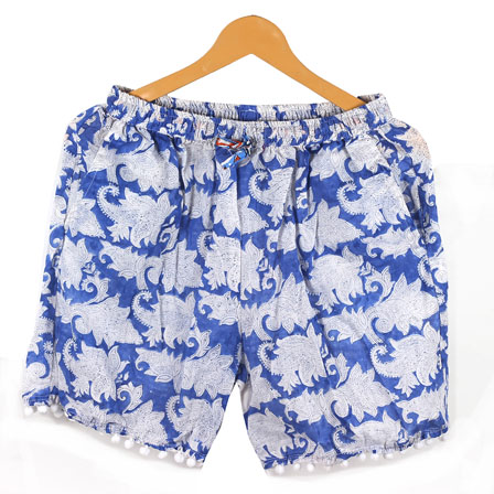 White Blue Flower Cotton Block Print Short-14651