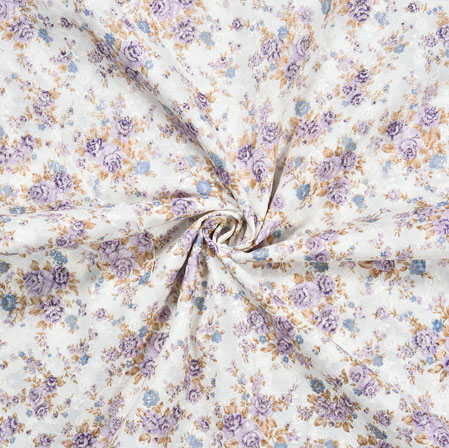 White Blue Flower Cotton Foil Embroidery Fabric-28294