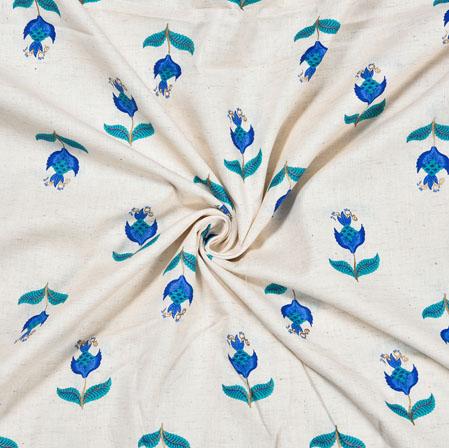 White Blue Flower Cotton Print Fabric-28215