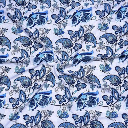 White Blue Flower Crepe Silk Fabric-18242