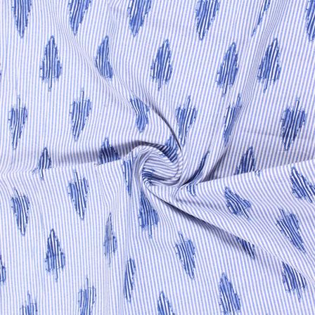 White Blue Handloom Khadi Cotton Fabric-40411