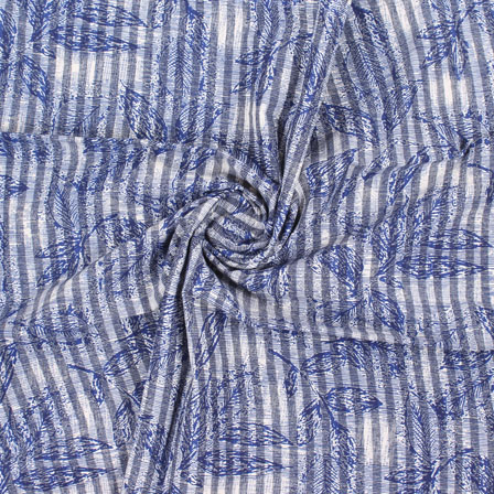 White Blue Handloom Khadi Cotton Fabric-40419