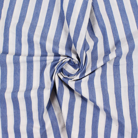 White Blue Handloom Khadi Cotton Fabric-40423