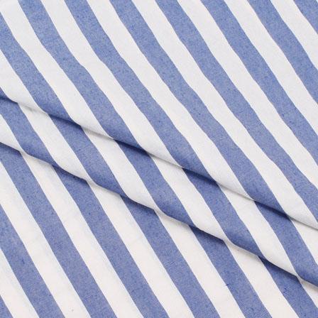 Khadi Shirt (2.25 Meter) Fabric-White Blue Handloom-140423