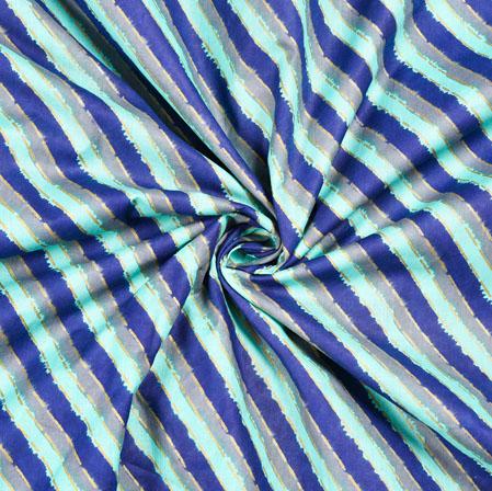 White Blue Leheria Block Print Cotton Fabric-28549