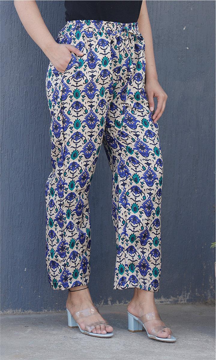 White Blue Manipuri Silk Floral Palazzo Pant-34480