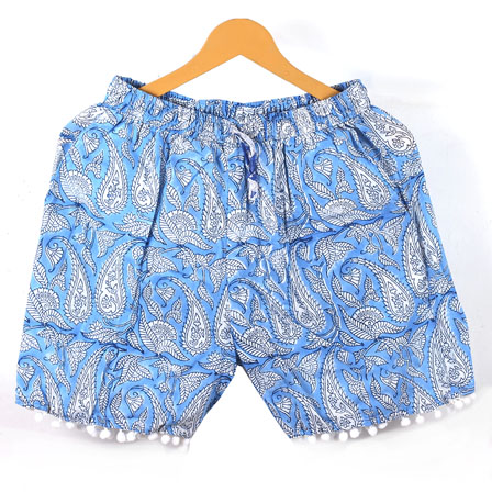 White Blue Paisley Cotton Block Print Short-14647