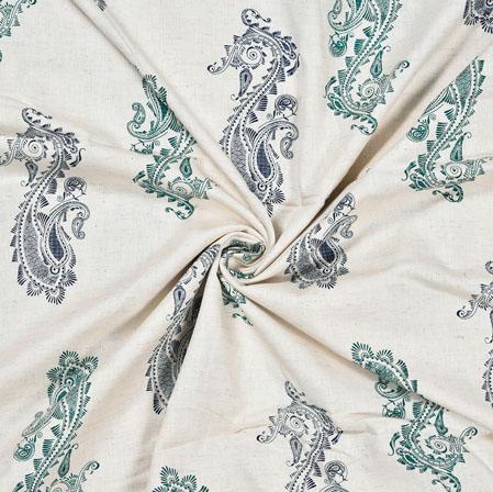White Blue Paisley Cotton Flex Fabric-28228