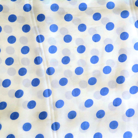 White Blue Polka Crepe Silk Fabric-18217