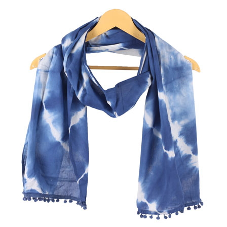 White Blue Shibori Cotton Block Print Dupatta With Pom Pom-33098