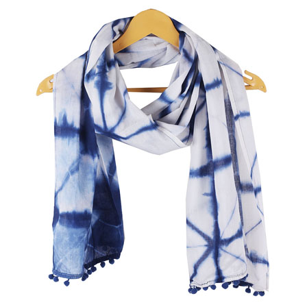 White Blue Shibori Cotton Block Print Dupatta With Pom Pom-33105
