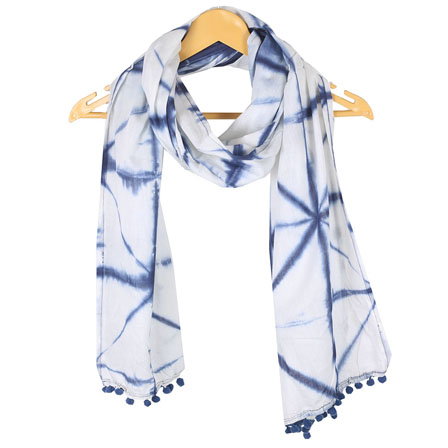 White Blue Shibori Cotton Block Print Dupatta With Pom Pom-33119