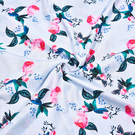 White Blue Sparrow Georgette Fabric-41130