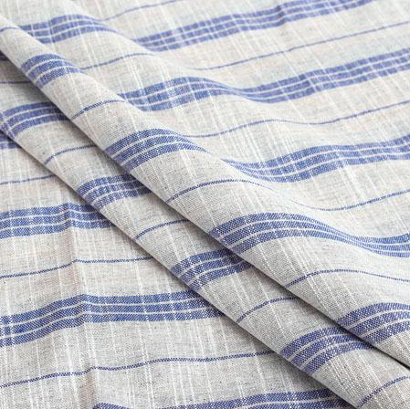 White Blue Stripe Handloom Cotton Fabric-40916